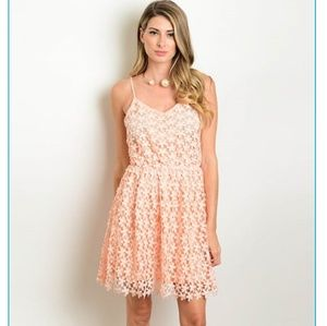 Ida Peach Lace Dress